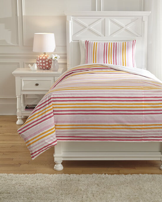 Two-Piece Striped Casual Twin Duvet Cover Set
