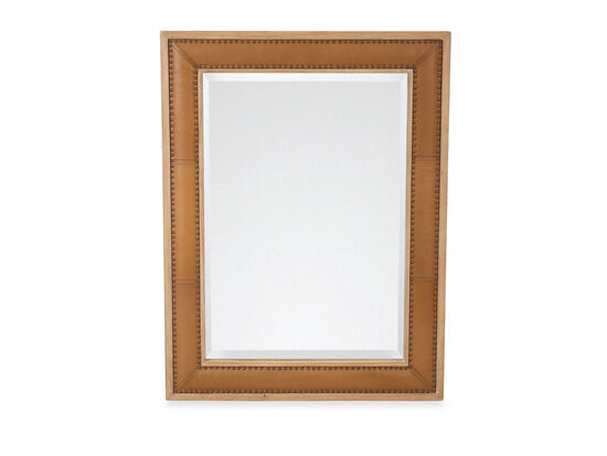 "46"" Leather Rectangular Mirror in Natural Oak"