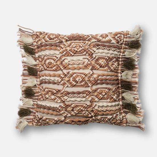 """Contemporary 18""""x18"""" Cover w/Down Pillow in Brown/Ivory"""