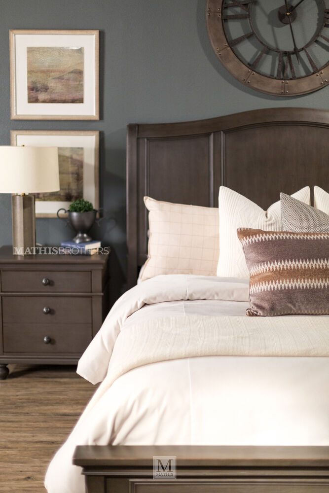 Three Piece Transitional Storage Bedroom Set In Peppercorn Mathis Brothers Furniture
