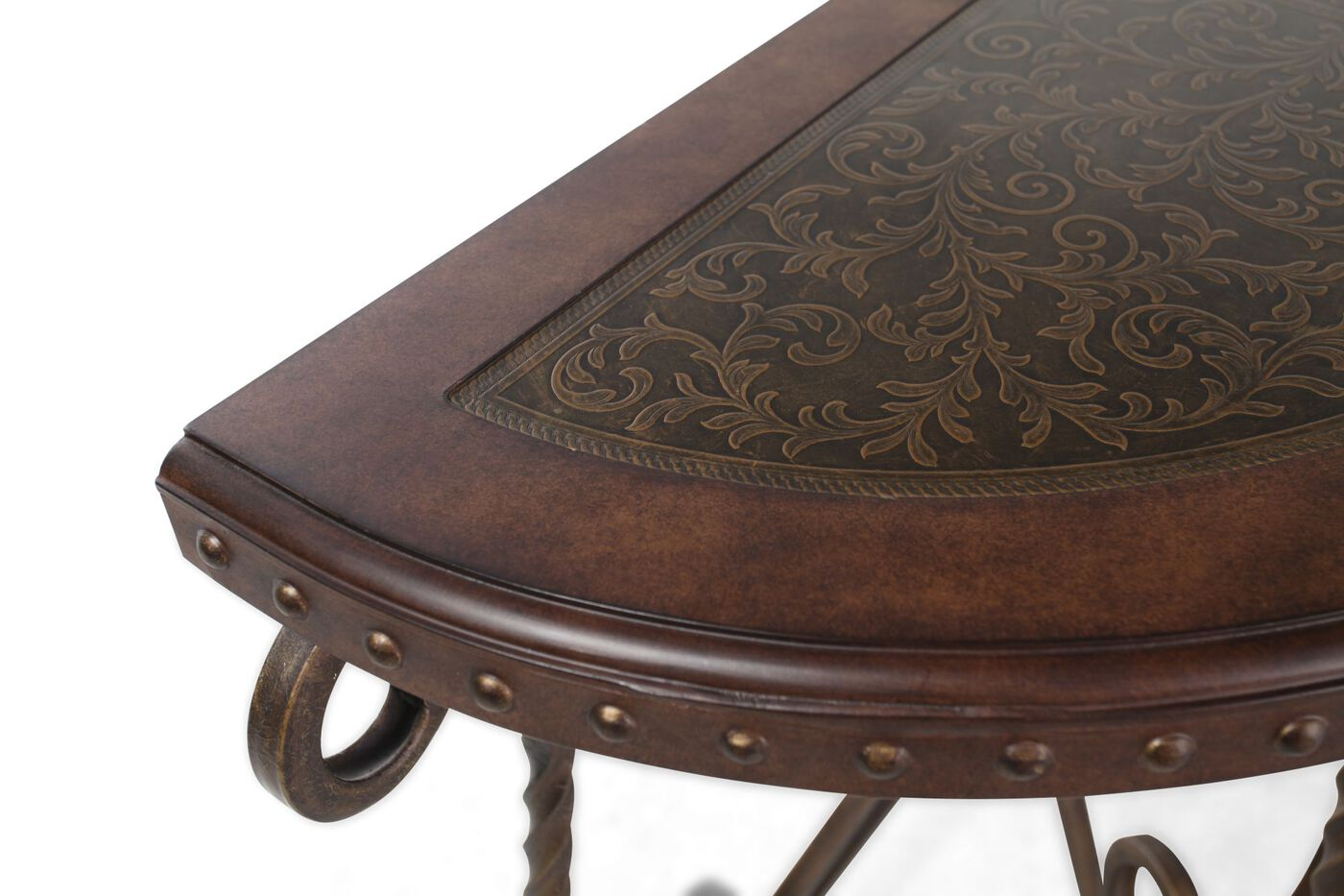 Scrolled base traditional sofa table in brown mathis Traditional console tables living room