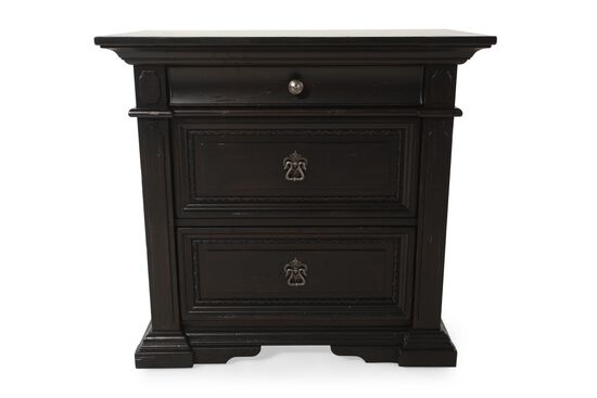 "30"" Traditional Three-Drawer Nightstand in Black"