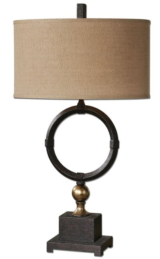 Textured Ring-Accented Table Lamp in Rust Black
