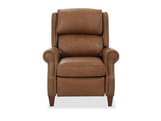 """Leather 36"""" Pressback Recliner in Mahogany"""