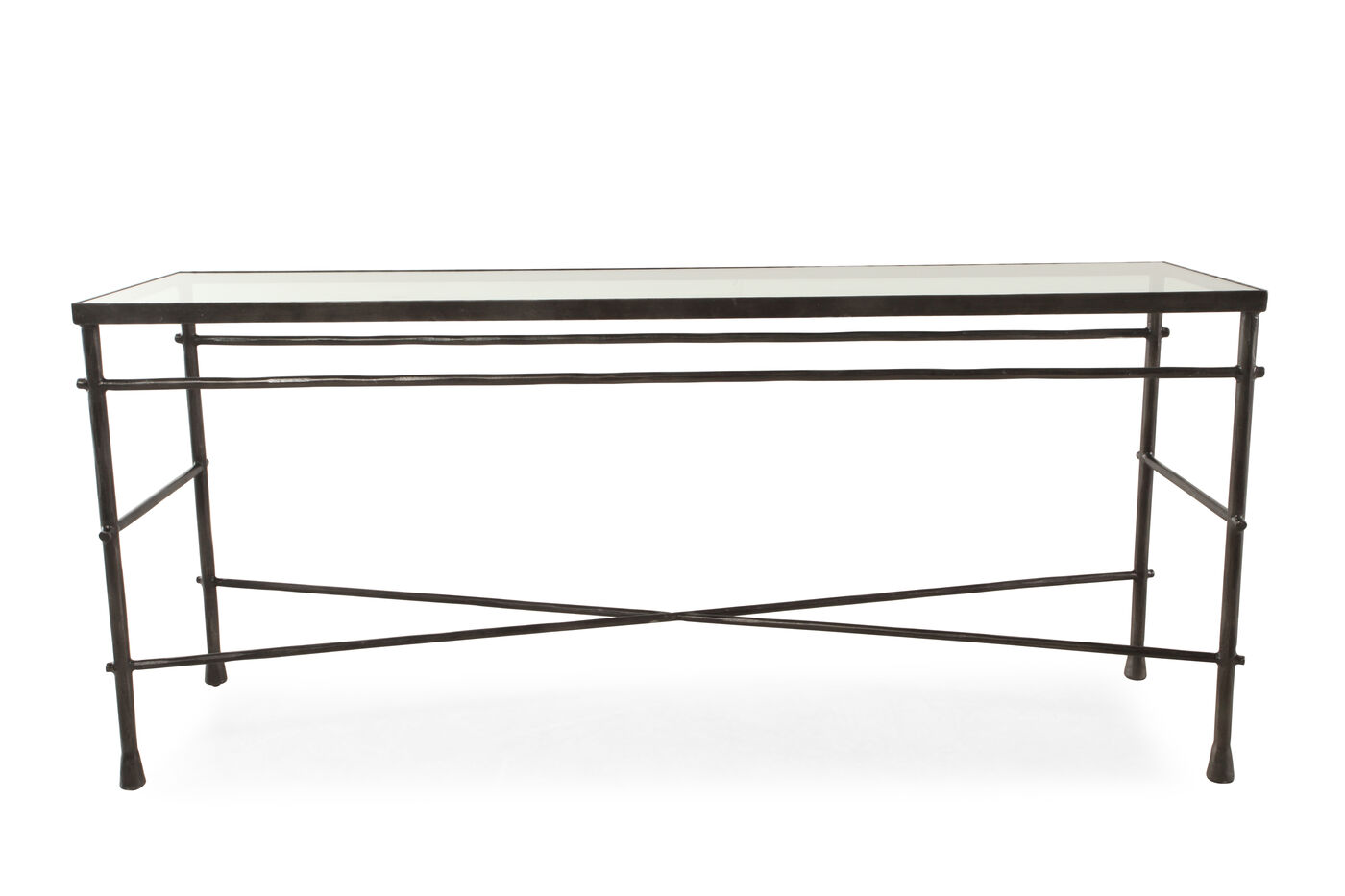 Cross braced traditional sofa table in gunmetal gray mathis cross braced traditional sofa table in gunmetal gray geotapseo Gallery