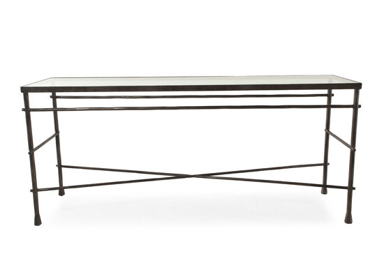 Cross-Braced Traditional Sofa Table in Gunmetal Gray