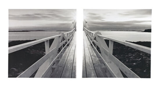 Two-Piece Contemporary Waterscape Canvas Wall Art Set in Black/White