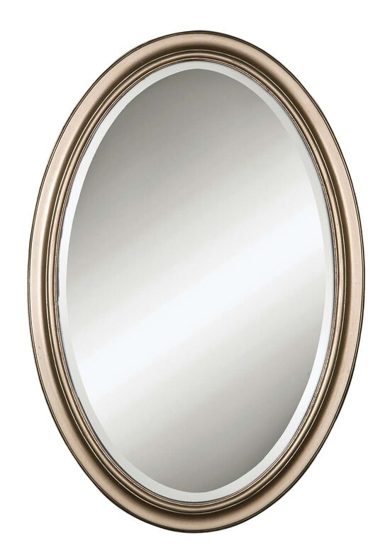 "31"" Oval Mirror in Champagne Silver Leaf"