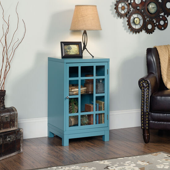 30'' Geometric Door Contemporary Display Cabinet in Moody Blue