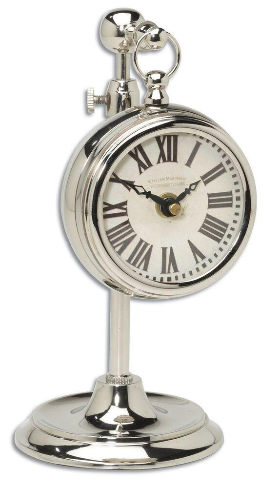 Roman Numeral Pocket Watch Replica with Telescopic Stand in Cream