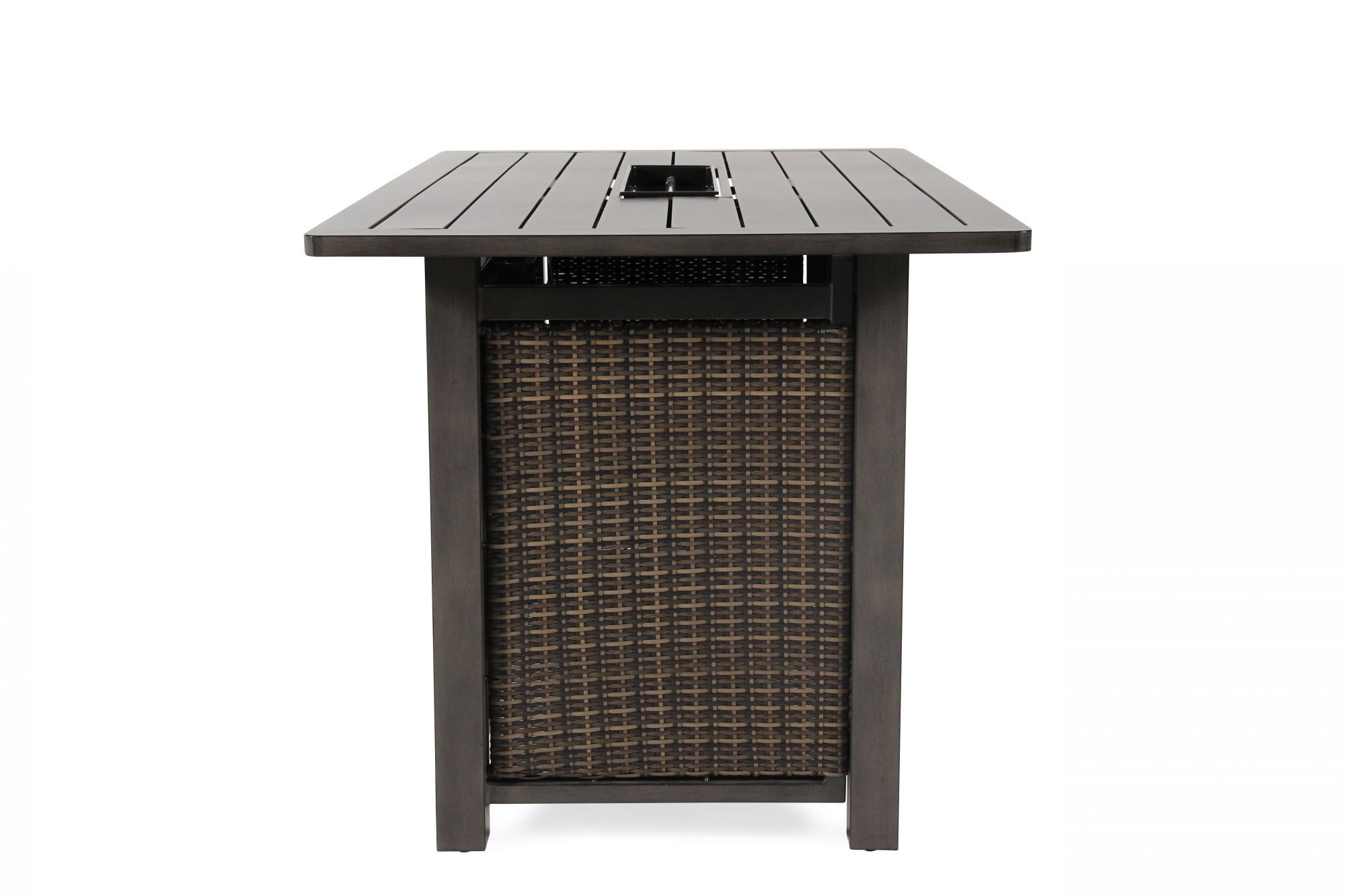 Rectangular contemporary bar height fire table in brown mathis brothers furniture