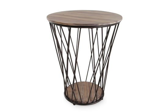 Contemporary Tapered Round Accent Table in Cedar