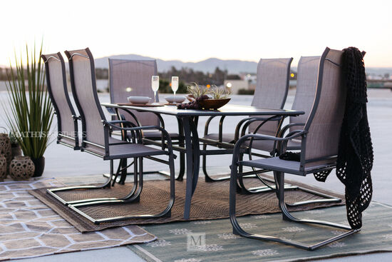 Seven-Piece Traditional Patio Dining Set with Sling Chairs in Grey