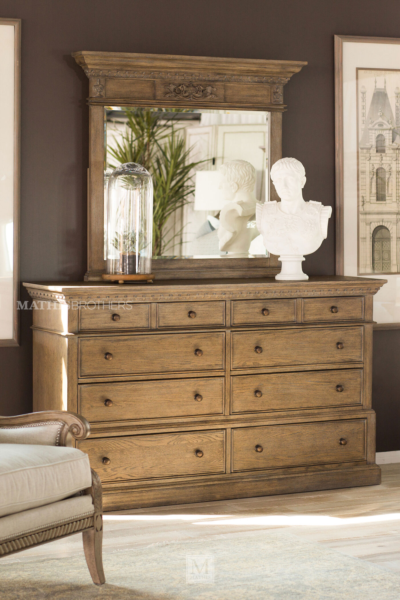 Four-Piece Traditional Bedroom Set In Light Aged Oak