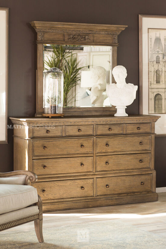 "40"" Traditional Eight-Drawer Carved Dresser in Aged Oak"