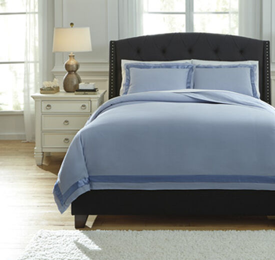 Three-Piece Satin-Trimmed Queen Duvet Cover Set in Blue