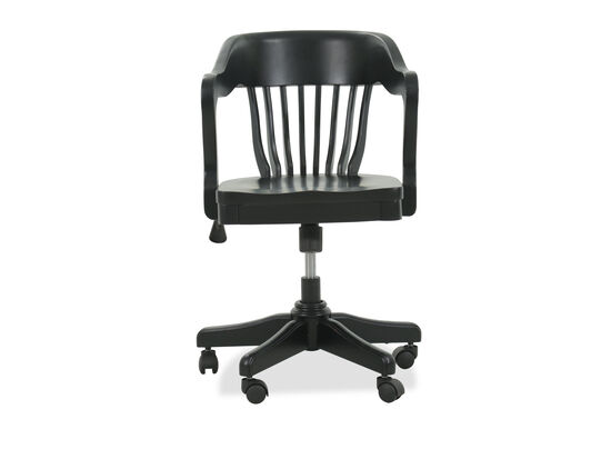Slat Back Traditional Youth Banker's Chair in Black