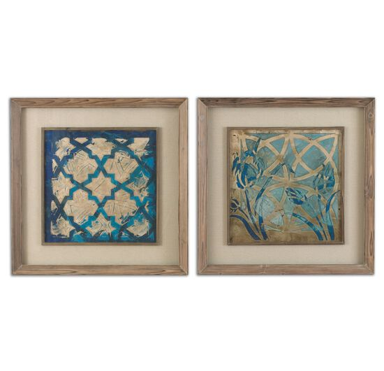 Two-Piece Stained Glass Printed Framed Wall Art Set