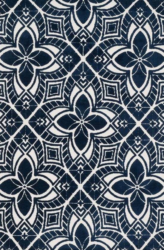 "Contemporary 9'-3""x13' Rug in Ivory/Navy"