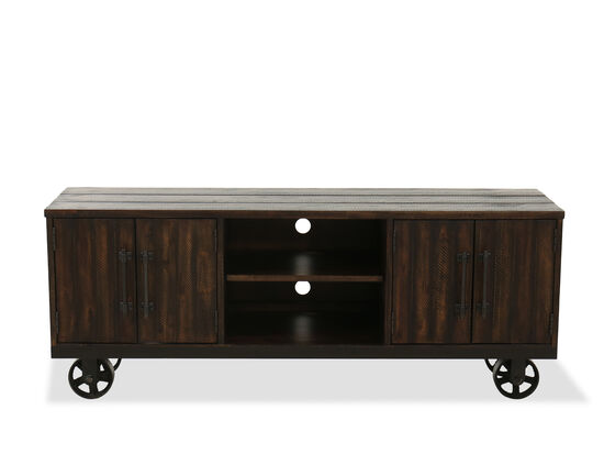 Four-Door Contemporary Console Table in Rustic Burley