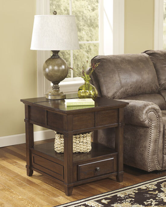Casual End Table in Medium Brown