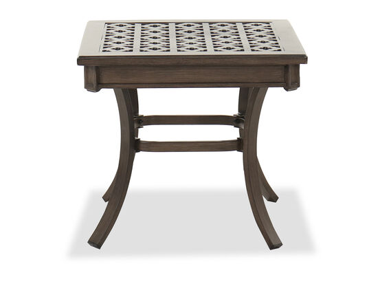 Square Aluminum Patio End Table in Brown