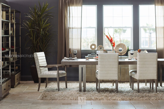 "Casual 44"" to 68"" Open Pedestal Dining Table in Dark Taupe"