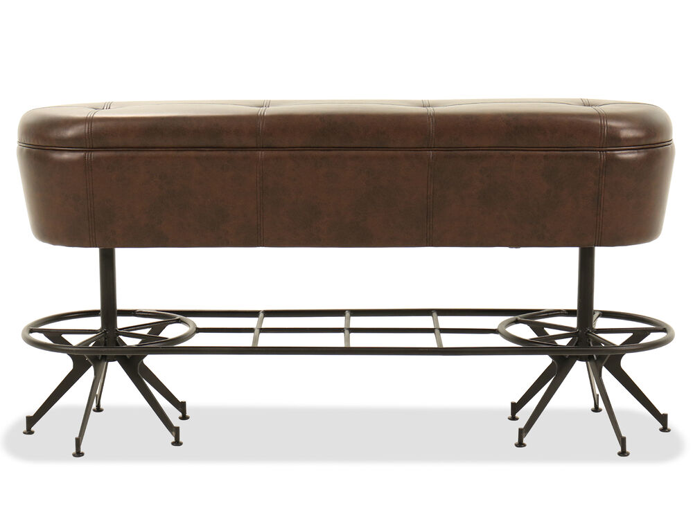 """Traditional 60"""" Button-Tufted Bench in Brown"""
