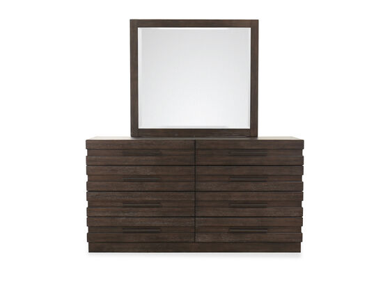 Two-Piece Transitional Dresser and Mirror Set in Brown