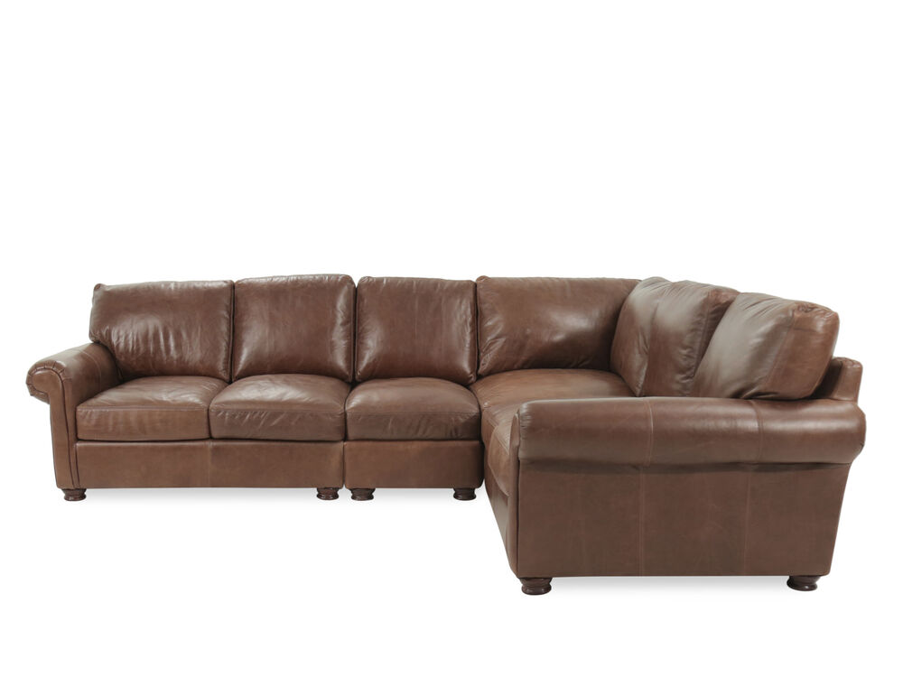 Images Four Piece Leather Sectional In Brown