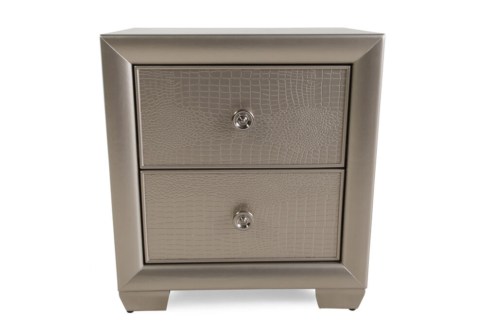 "26"" Transitional Two-Drawer Nightstand in Glamour Silver"