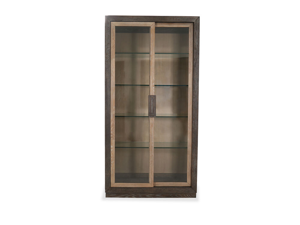 """86"""" Transitional Display Cabinet in Flaky Oak"""