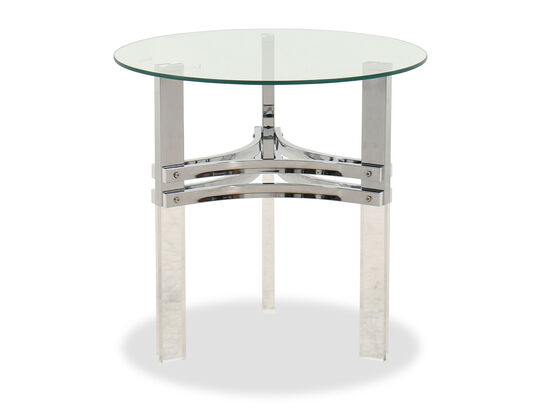 Contemporary Round End Table in Chrome