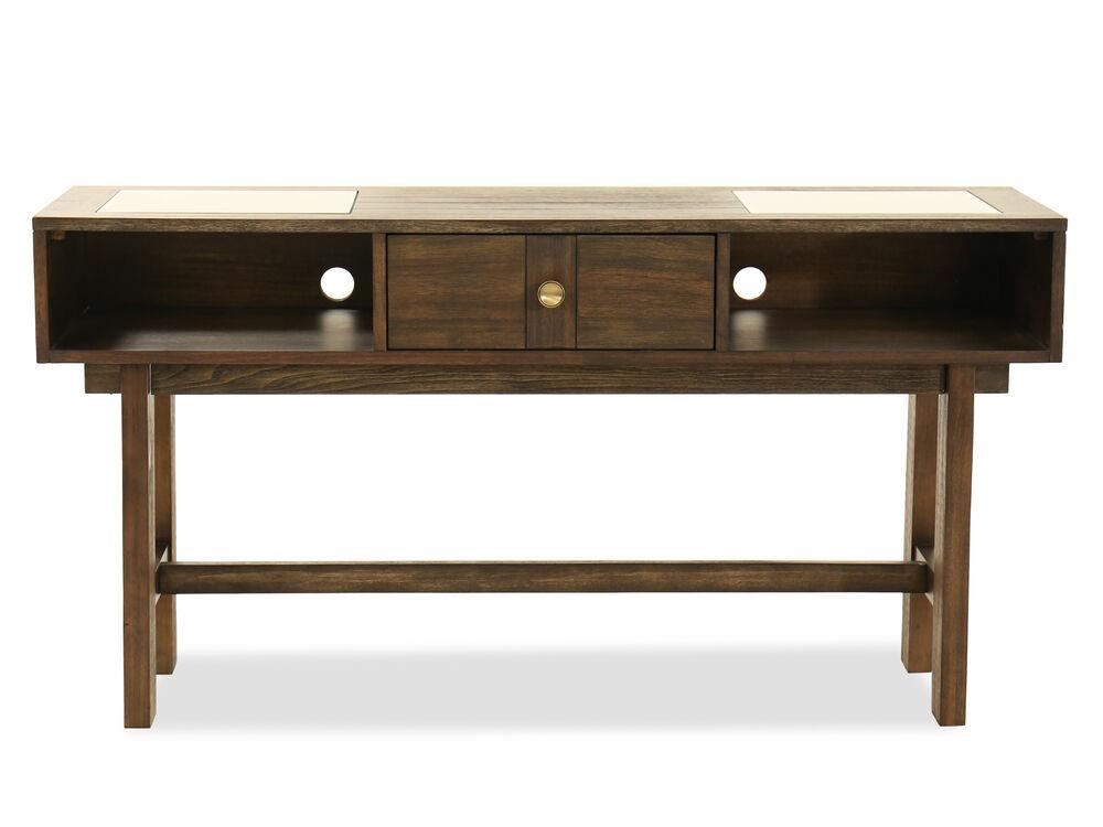 Contemporary Two-Shelf Console Table in Dark Brown