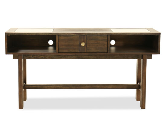 Contemporary Two-Shelf Console Table in Dark Brown
