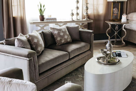 "Glamorous Velvet 88.5"" Shelter Sofa in Brown"