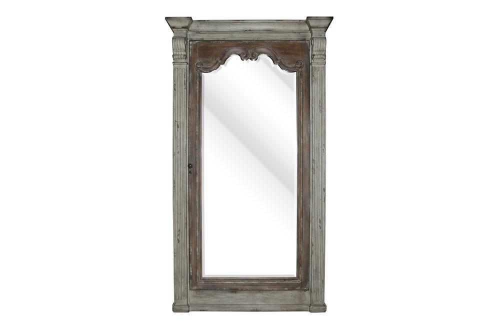 """84"""" Traditional Floor Mirror with Storagein Dark Walnut"""