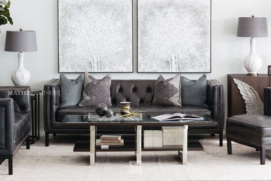 leather couch living room grey nailheadaccented leather sofa in slate sofas couches mathis brothers furniture stores