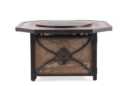 Distressed Aluminum Gas Fire Pit in Dark Bronze