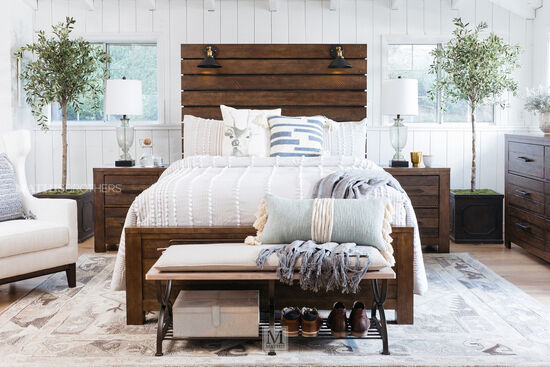 Four-Piece Industrial King Suite in Brown