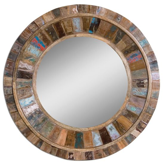 "32"" Round Mango Wood Mirror"