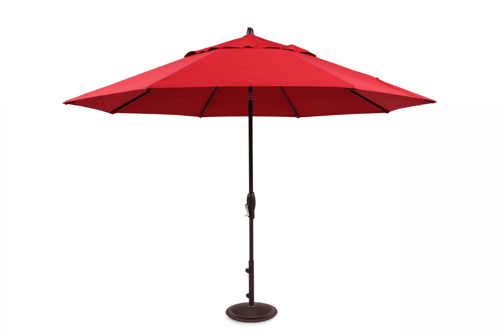 Treasure Garden Red 11u0026#39; Auto Tilt Umbrella
