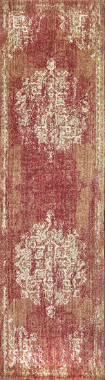 Transitional Power-Loomed 2.6 x 8 Runner Rug in Red