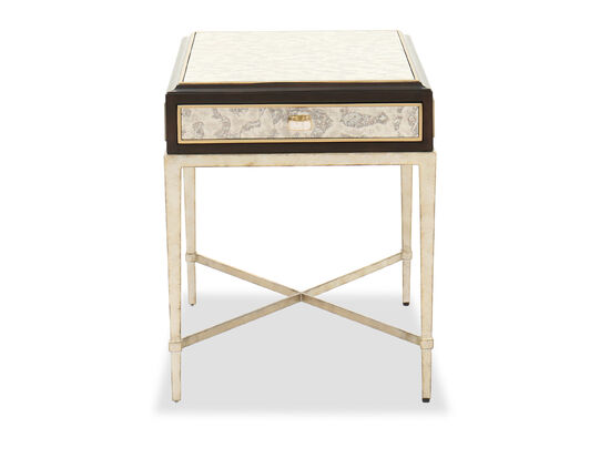 Contemporary End Table in Antique Silver Leaf