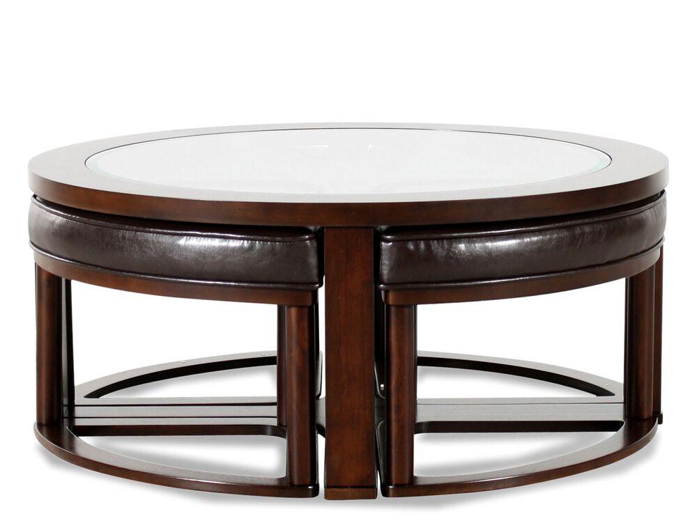 Round Contemporary Cocktail Table in Dark Merlot