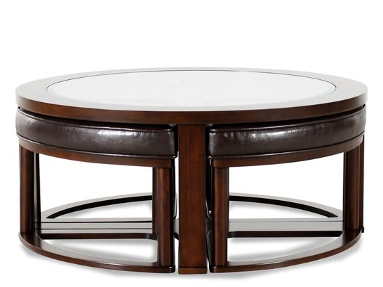 Round Contemporary Cocktail Table in Dark Merlot