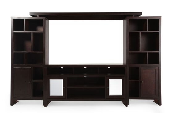 18-Cubby Casual Entertainment Wall Unit in Dark Cherry