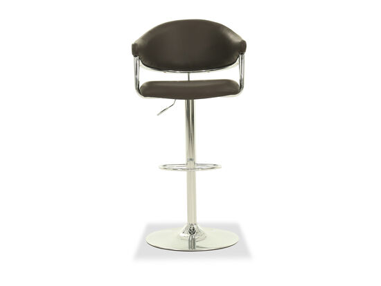 Leather Adjustable Bar Stool in Brown