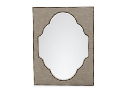 "44"" Tradtional Nailhead Accented Mirror in Grey"