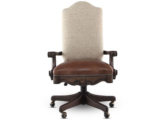 Leather Nailhead Trimmed Swivel Tilt Chair in Distressed Pecan